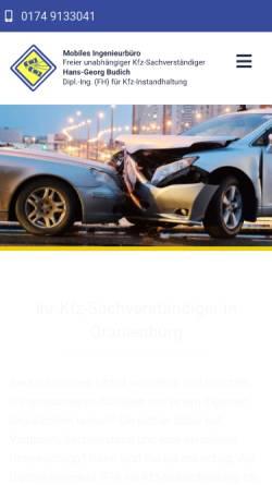 Vorschau der mobilen Webseite www.kfz-sachverstaendiger-budich.de, Kfz-Sachverständiger Dipl.-Ing. Hans-Georg Budich