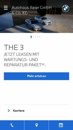 Vorschau der mobilen Webseite www.autohaus-reier.de, Autohaus Reier GmbH & Co. KG