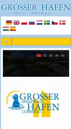 Vorschau der mobilen Webseite www.grosser-kahnhafen.de, Grosser Spreewaldhafen Lübbenau - Kahnfährgenossenschaft Lübbenau & Umgebung eG