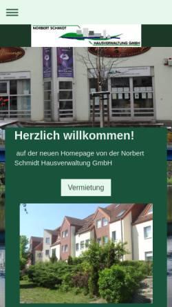 Vorschau der mobilen Webseite www.immobilienschmidt.de, Norbert Schmidt Hausverwaltung GmbH