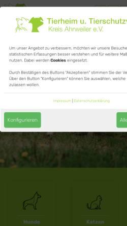 Vorschau der mobilen Webseite www.tierheim-remagen.de, Tierheim u. Tierschutzverein Kreis Ahrweiler e.V