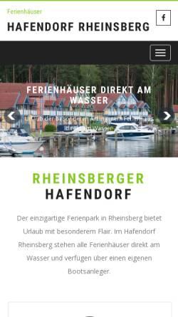 Vorschau der mobilen Webseite www.rheinsberger-hafendorf.de, Ferienpark Hafendorf Rheinsberg - Mike Focke