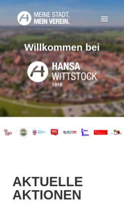 Vorschau der mobilen Webseite www.fk-hansa-wittstock.de, Fußballverein Hansa Wittstock 1919 e.V.