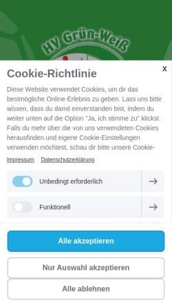 Vorschau der mobilen Webseite www.handball-werder.de, HV Grün-Weiß-Werder (Havel) e.V.