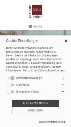 Vorschau der mobilen Webseite www.raumundcolor.de, raum & color - Krause & Helmholz OHG