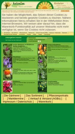 Vorschau der mobilen Webseite www.helenion.de, Gärtnerei helenion - Inh. Mirko Wersin