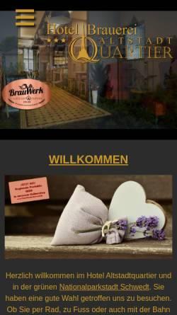 Vorschau der mobilen Webseite altstadtquartier-schwedt.de, Hotel Altstadtquartier - Steinke und Mieczkowski GbR