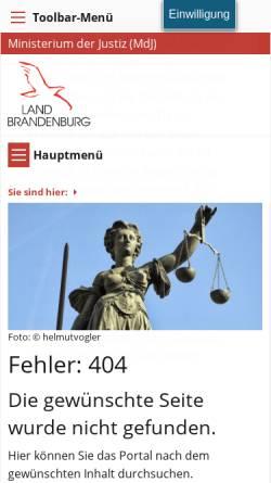 Vorschau der mobilen Webseite mdjev.brandenburg.de, Gerichte - Ministerium der Justiz und für Europa und Verbraucherschutz (MdJEV)