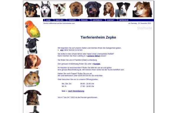 Vorschau von tierferienheim-zepke.de, Tierferienheim Zepke - Inh. Ines Zepke