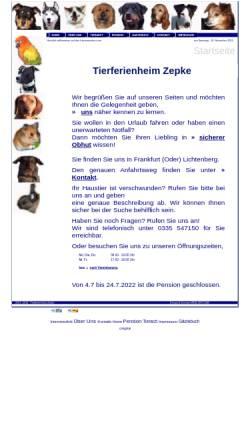 Vorschau der mobilen Webseite tierferienheim-zepke.de, Tierferienheim Zepke - Inh. Ines Zepke