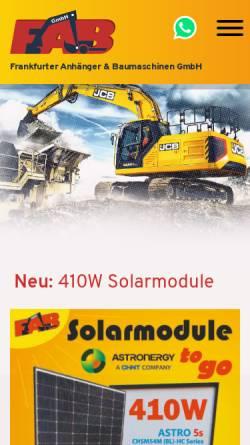Vorschau der mobilen Webseite www.fabgmbh.eu, FAB Frankfurter Anhänger und Baumaschinen GmbH