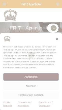 Vorschau der mobilen Webseite hotelfritz.de, Fritz Apart Hotel Potsdam - Apartment Babelsberg GmbH