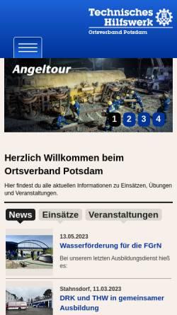 Vorschau der mobilen Webseite www.thw-potsdam.de, Technisches Hilfswerk - OV Potsdam