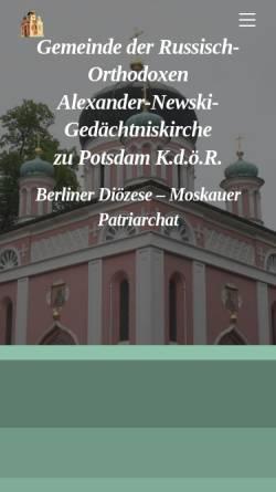 Vorschau der mobilen Webseite r-o-k.de, Russisch-Orthodoxe Kirche des hl. Alexander Newskij zu Potsdam
