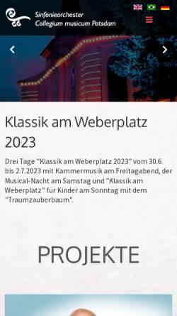 Vorschau der mobilen Webseite www.cm-potsdam.de, Sinfonieorchester Collegium musicum Potsdam