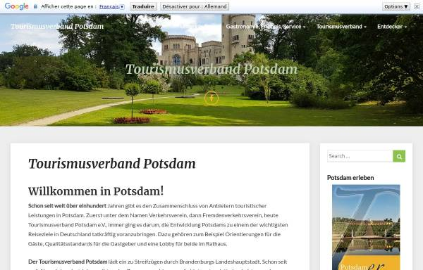 Vorschau von www.tourismusverband-potsdam.de, Tourismusverband Potsdam e.V.