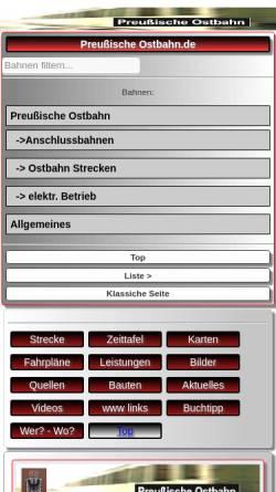Vorschau der mobilen Webseite preussische-ostbahn.de, Preussische Ostbahn - Axel Krueger
