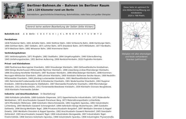 Vorschau von www.berliner-bahnen.de, Bahnen im Berliner Raum