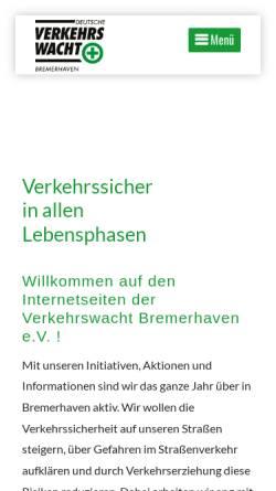 Vorschau der mobilen Webseite www.verkehrswacht-bremerhaven.de, Verkehrswacht Bremerhaven e.V.