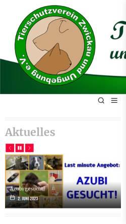 Vorschau der mobilen Webseite www.tierheim-vielau.de, Tierschutzverein Zwickau u.U. e.V.
