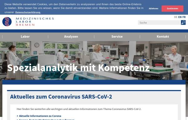 Vorschau von www.mlhb.de, Medizinisches Labor Bremen