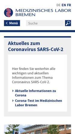 Vorschau der mobilen Webseite www.mlhb.de, Medizinisches Labor Bremen