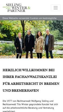 Vorschau der mobilen Webseite www.arbeitsrecht-am-wall.de, Sieling Winter & Partner