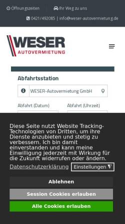 Vorschau der mobilen Webseite www.weser-autovermietung.de, Weser-Autovermietung Andreas Menzel e.K.