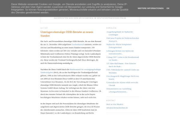 Vorschau von archivnachrichten.blogspot.de, Unterlagen ehemaliger DDR-Betriebe an neuem Standort - Archivnachrichten
