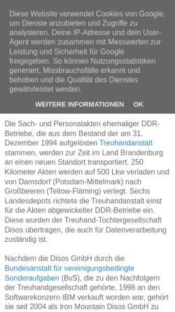 Vorschau der mobilen Webseite archivnachrichten.blogspot.de, Unterlagen ehemaliger DDR-Betriebe an neuem Standort - Archivnachrichten