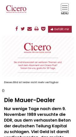 Vorschau der mobilen Webseite cicero.de, Die Mauer-Dealer - Cicero Online