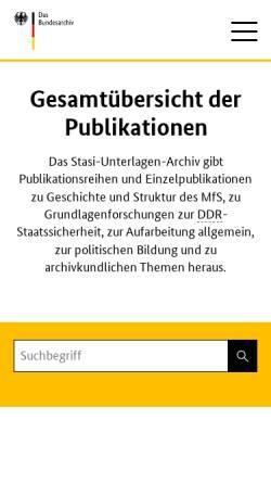 Vorschau der mobilen Webseite www.bstu.bund.de, Roland Wiedmann, Die Diensteinheiten des MfS 1950–1989. Eine organisatorische Übersicht (MfS-Handbuch)