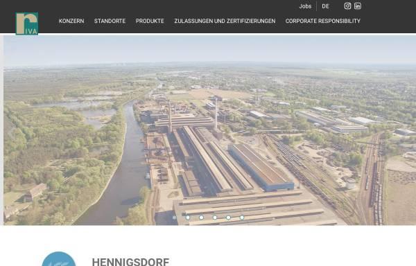 """Vorschau von www.rivastahl.com, VEB Stahl- und Walzwerk Hennigsdorf """"Wilhelm Florin"""" - Hennigsdorfer Elektrostahlwerke GmbH"""