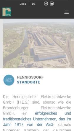 """Vorschau der mobilen Webseite www.rivastahl.com, VEB Stahl- und Walzwerk Hennigsdorf """"Wilhelm Florin"""" - Hennigsdorfer Elektrostahlwerke GmbH"""