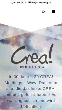 Vorschau der mobilen Webseite creameeting.ch, Crea - Überregionales Jugendmeeting