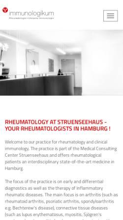 Vorschau der mobilen Webseite rheumatologie.hamburg, Internistische Rheumatologie Dr. Peer M Aries