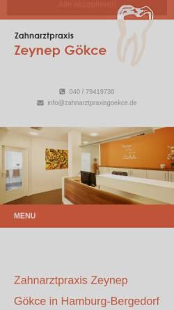 Vorschau der mobilen Webseite www.zahnarzt-hamburg-bergedorf.de, Gökce, Zeynep