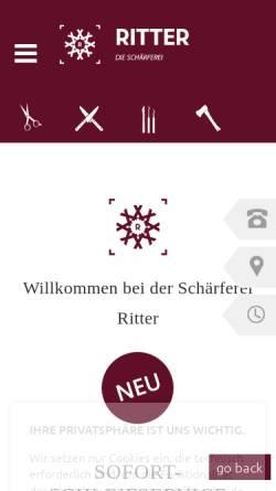 Vorschau der mobilen Webseite www.ritter-schleifservice.de, Die Schärferei Ritter