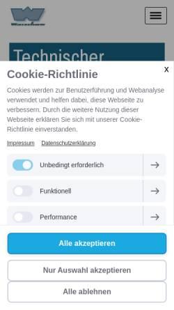 Vorschau der mobilen Webseite www.warschow.de, Heinz Warschow technischer Handel in Bergedorf