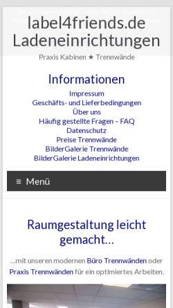 Vorschau der mobilen Webseite label4friends-ladeneinrichtungen.de, Label4friends Ladenbau