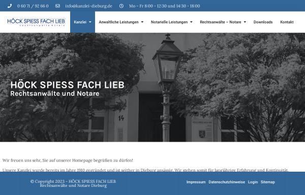 Vorschau von www.kanzlei-dieburg.de, Höck, Spiess, Fach, Lieb - Rechtsanwälte Notare