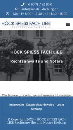 Vorschau der mobilen Webseite www.kanzlei-dieburg.de, Höck, Spiess, Fach, Lieb - Rechtsanwälte Notare