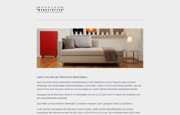 Vorschau von www.wohnform.de, Wohnform Werkstätten