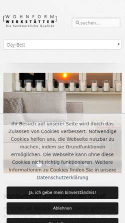 Vorschau der mobilen Webseite www.wohnform.de, Wohnform Werkstätten