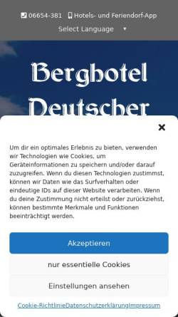 Vorschau der mobilen Webseite www.deutscher-flieger.de, Hotel Deutscher Flieger