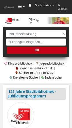 Vorschau der mobilen Webseite www.stadtbibliothek.giessen.de, Stadtbibliothek Gießen