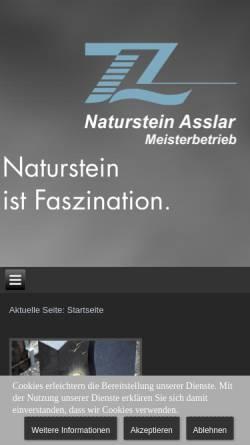 Vorschau der mobilen Webseite www.naturstein-asslar.de, Zimmermann & Löll Naturstein GmbH & Co. KG