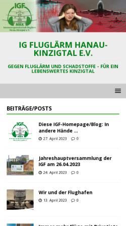 Vorschau der mobilen Webseite www.igfluglaerm.de, Interessengemeinschaft gegen Fluglärm im Kinzigtal e.V.