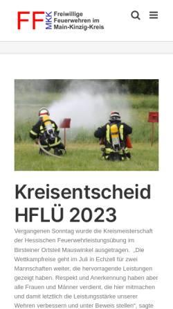 Vorschau der mobilen Webseite www.ffmkk.de, Kreisfeuerwehrverband Main-Kinzig-Kreis