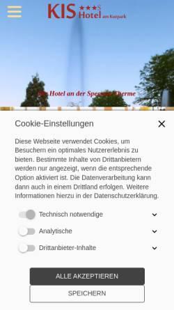 Vorschau der mobilen Webseite www.kishotel.de, KIS Hotel am Kurpark